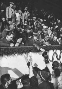 Adolf Hitler and propaganda Minister Jopseh Goebless used the Olympic Games in 1936 to sign autographs