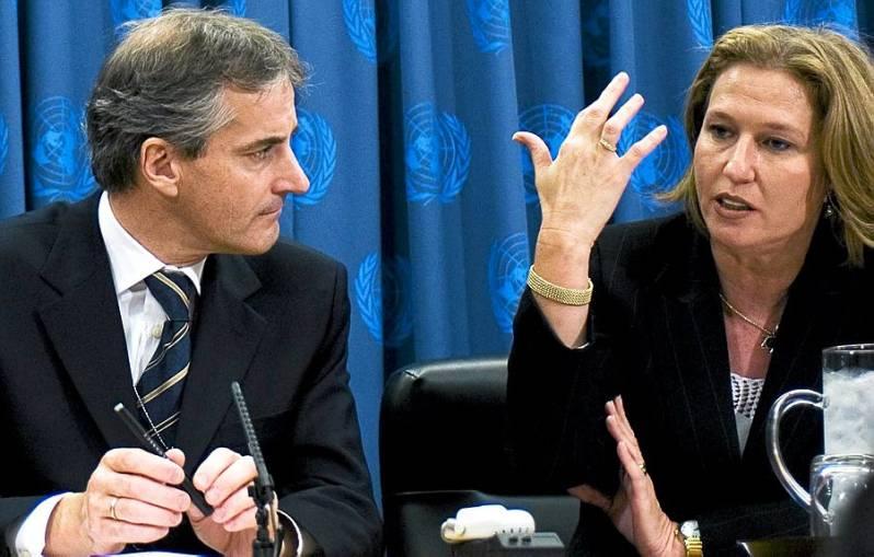 Jonas Gahr Støre with former Israeli Foreign Minister Tzipi Livni