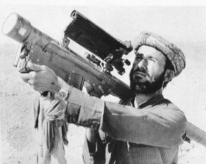 A Taliban terrorist with an American Stinger rocket launcher