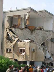 A building in Haifa hit by a rocket fired from Lebanon.