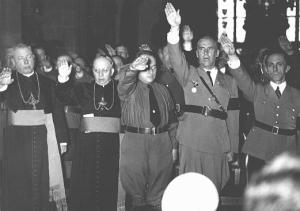 Catholic Bishops, promoting a man of pece, who would end the chaos. To the fare right, Nazi-propaganda Minister Joseph Goebbels
