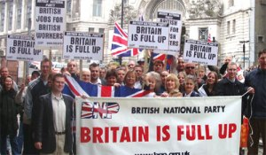Slogans from BNP, a right-wing anti-foreigner party in United Kingdom