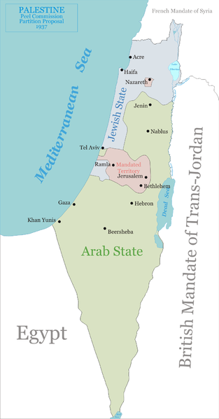 The two-state-solution promoted by Lord Peel in 1937.