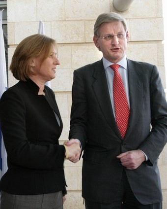 Former Israeli Foreign Minister Tzipi Livni and Carl Bildt