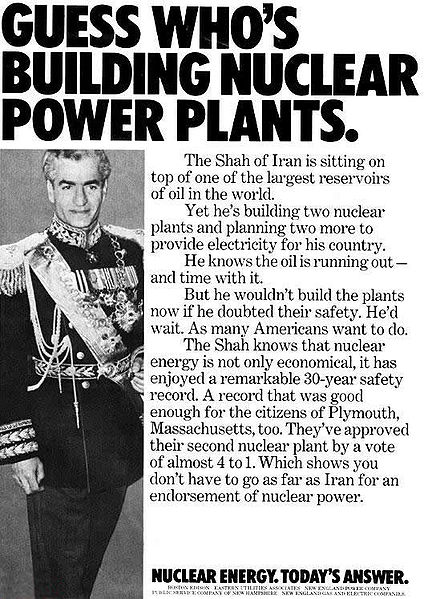 Advertisement from the 1970s by American nuclear-energy companies, using Iran's nuclear program as a marketing ploy.