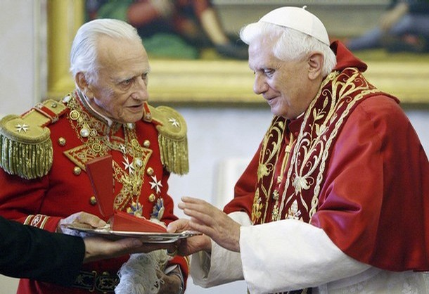 The Grand Master of the Order of Malta, Prince Fra Andrew Bertie speaks with Pope Benedict XVI