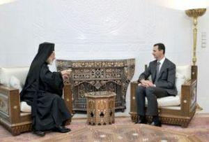 Archbishop Hilarion Capucci payes the Syrian president a visit
