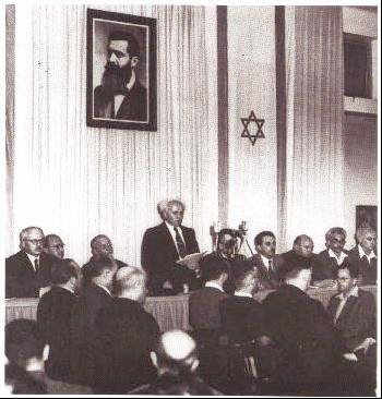 1948. David Ben-Gurion tells the World that the Jewish people are back home in the land of their forefathers.