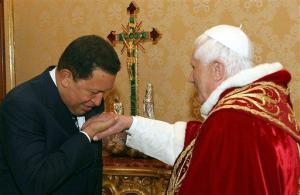 Hugo Chavez is a socialist. For the Pope it does not matter, as long as he bows down and kisses the iol