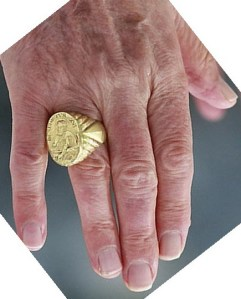 The Pope has this idol of gold around his finger