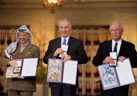 Yasser Arafat, PLO; Shimon Peres, Israeli President; & Yitzhak Rabin, Former Israeli Prime Minister
