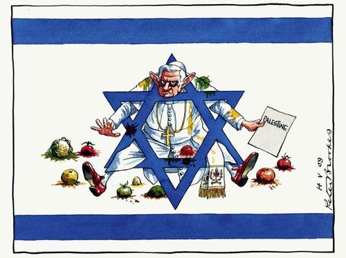 This cartoon lookes a little misplaced. But the Zionist state is the only stumbling block for the Pope who is trying to make peace with Islam.