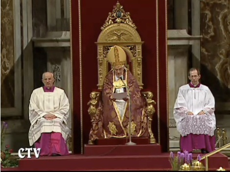 The present Pope sits in the Papal throne in Rome.