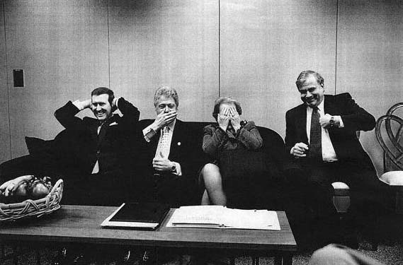 Why are they laughing? Well, they have just been told that the Jewish people are the correct and only cartakers of Israel. From Left William Cohen, Bill Clinton, Madelanine Albright and Sandy Berger .