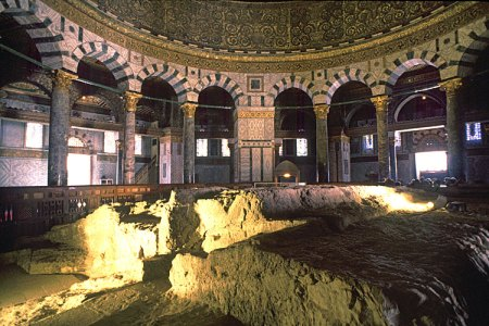 Inside the Dome of the Rock. Waiting for the final renovation, and the Papal throne