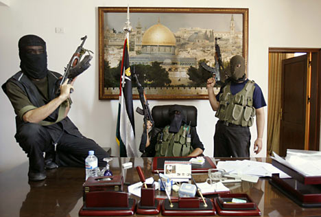 These guys from Hamas took over this Fatah office in Gaza in 2007. Now Hamas refuses to give exit-Visas for their Muslim brothers in Fatah.