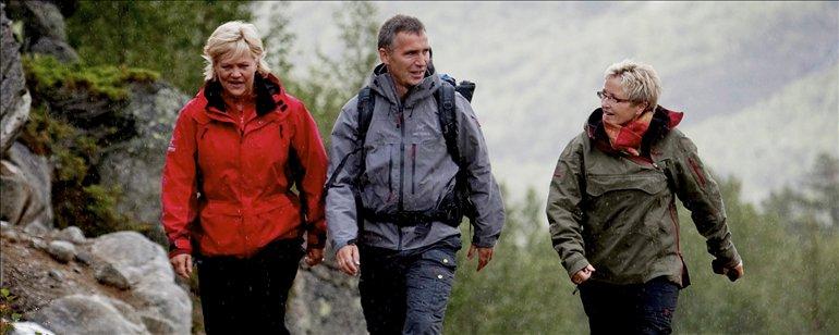 The Norwegian Prime Minister Jens Stoltenberg tracking in the National Park just before dinner
