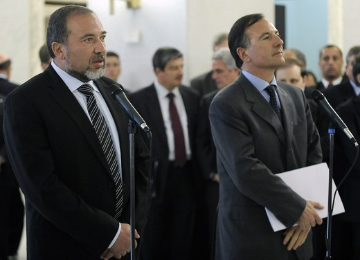 Foreign Minister of Israel Avigdor Lieberman with Italian Foreign Minister Frattini