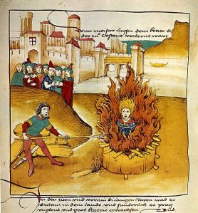 A painting which illustrates the burning of the martyr Jan Hus.