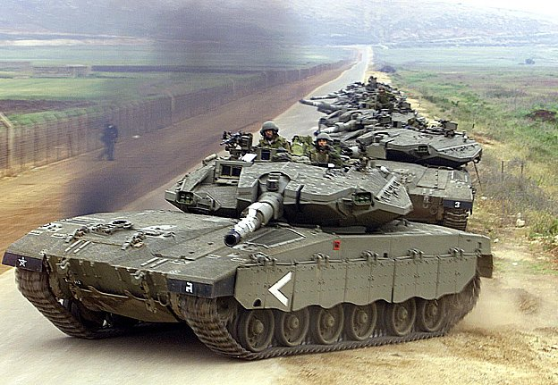 Israel tanks is prepared for the next Arab attack on the Jewish state