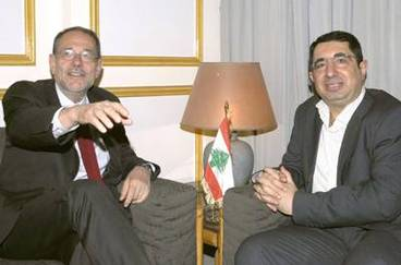 Javier Solana with Hizbollah lawmaker Hussein Hajj Hassan at the parliament in Beirut, Lebanon.