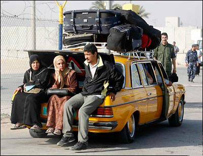 Gazans leaving the terror-regime of Hamas, on their way through the Eretz crossing into freedom in Israel