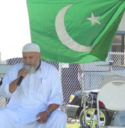 Not stars and stripes, but the flag of Pakistan on the independense day of Pakistan in Lodi California.