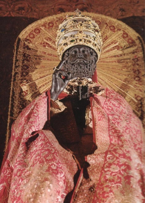 In Rome an idol of Peter is worshiped, and Rome has placed a Papal crown on his head.