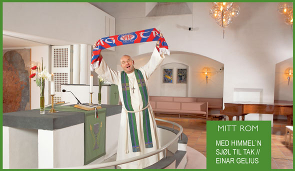 Priest Einar Gelius promoting football and flats in a newspaper advertisment