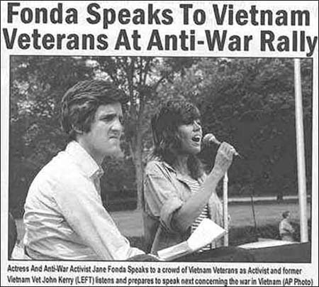 Former US president candidate John Kerry and Jane Fonda in earlier days.
