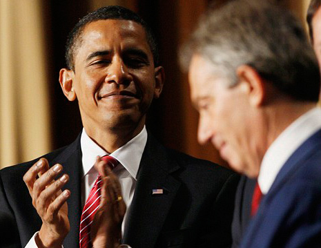 Barack Hussein Obama and Tony Blair. Two of a kind.