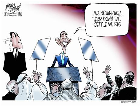Obama settlements cartoon
