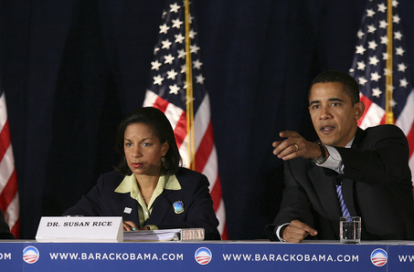 US ambassador to the UN Susan Rice with Us President Barack Obama.