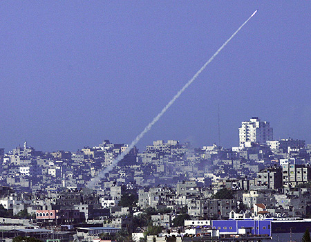 Happy News Year israel. A Quassam fired from the «liberated» Gaza-strip.