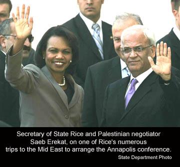Former Secretary of State Condoleezza Rice with Saeb Erekat