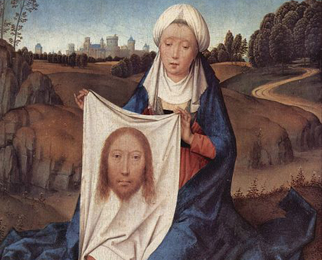 Saint Verionica with the claimed to be true image of the face of Jesus. Idoltry at its absolutly worse.