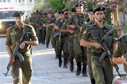 US trained Arab Palestinian security forces patrol the West Bank town of Jenin on June 18.