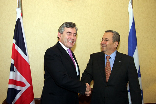 British PM Gordon Brown had to defend the Israeli Defense Minister Ehud Barak in London, against a Palestinian attack sponsored by nations like Norway.