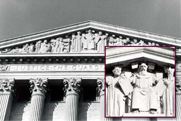Moses rules in the center of the Supreme Court in Washington.