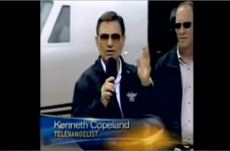 CBS News picture of Kenneth Copeland at launch of another Church aircraft.