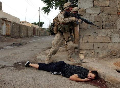 The US Marines launced a brutal assult on the Iraqi city of Fallujah.