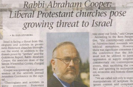 Faximile of an article in the Jerusalem Post exposing «Christians» as anti-Israel.