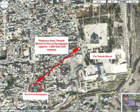 The map tells the truth. There is no connection between the Hurva and the Temple Mount.