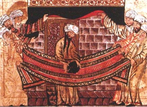 A 1315 illustration from the Jami al-Tawarikh, inspired by the Sirah Rasul Allah story of Muhammad and the Meccan clan elders lifting the Black Stone into place