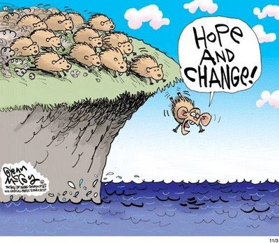 Cartoon of the day # 236 – News that matters Obama Lemmings Jumping Off A Cliff