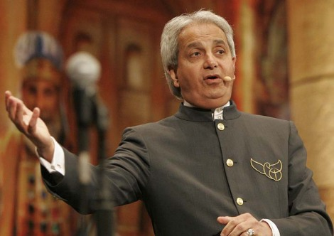 Benny Hinn denies that Jesus has come in flesh, not having human blood.
