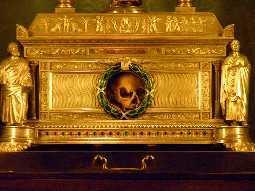 "Living in a box. This skull is supposed to be ""Holy"", and is claimed to be of a woman named Agnes venerated in Rome it self."