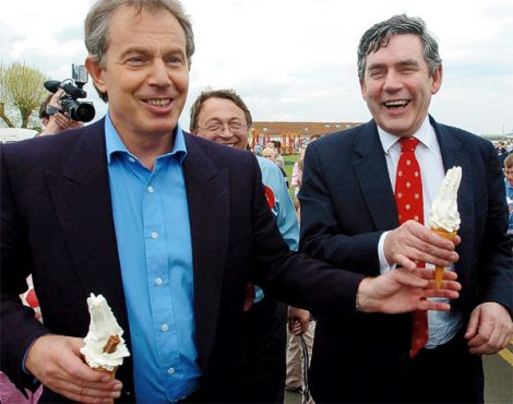 Tony Blair stabs Gordon Brown. When they ruled England together Blair told lies through his teeths.