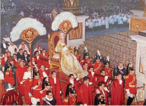 Pope Pius XII was the last pope that was carried like a pagan Egyptian king towards his throne in the Vatican.