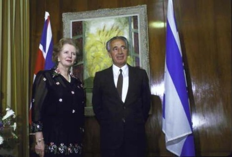 Margareth Thatcher meet Shimon Peres as Foreign Minister in 1987.